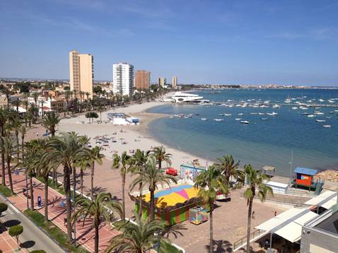 Santiago de la Ribera a typical Spanish seaside resort town