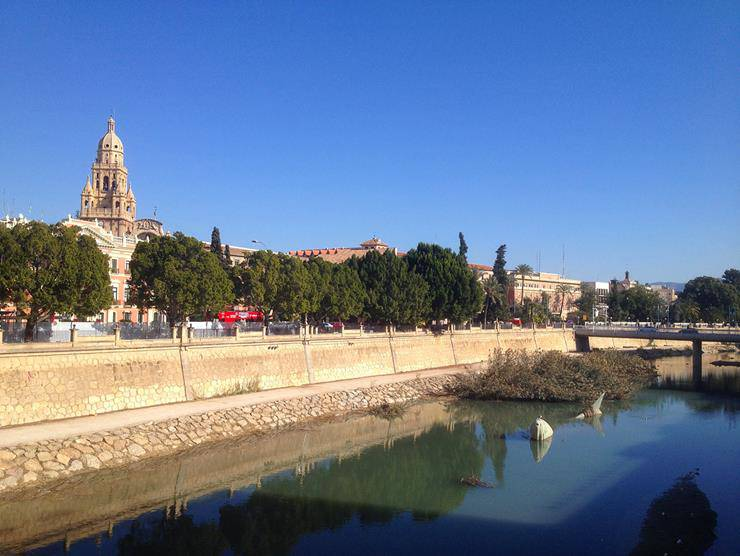 Murcia Cathedral as seen from the Rio Segura
