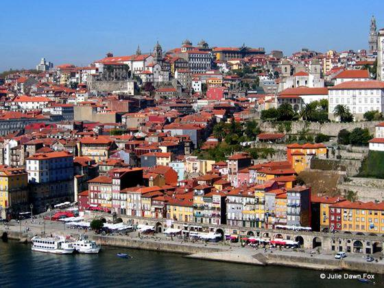 Pretty houses on the banks of the River Douro in Porto
