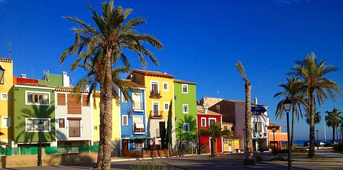 Brightly coloured painted houses at Villajoyosa